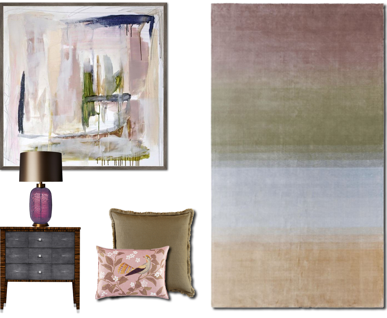 There is a strong move away from grey and a move to a softer, more pastel colour palette in interiors. We are seeing easy to live with hues of blush, nude, baby blue and light coral. Here we have paired some of these pastel colours with khaki and soft olive with which gives an earthy & more grounded feel.