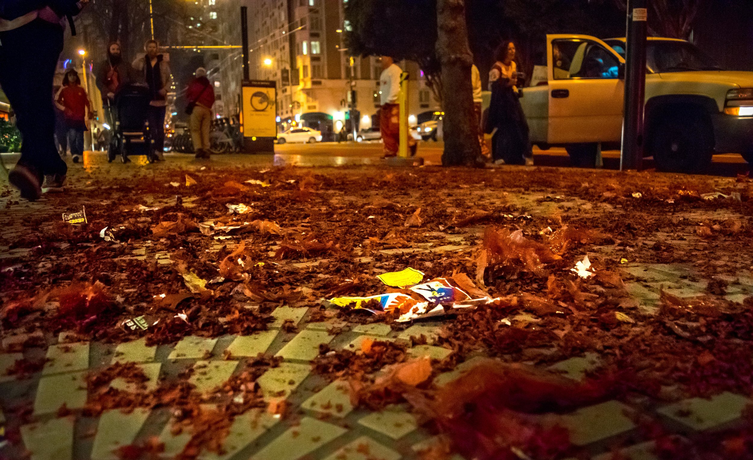 The pile of firecracker debris after the smoke cleared.