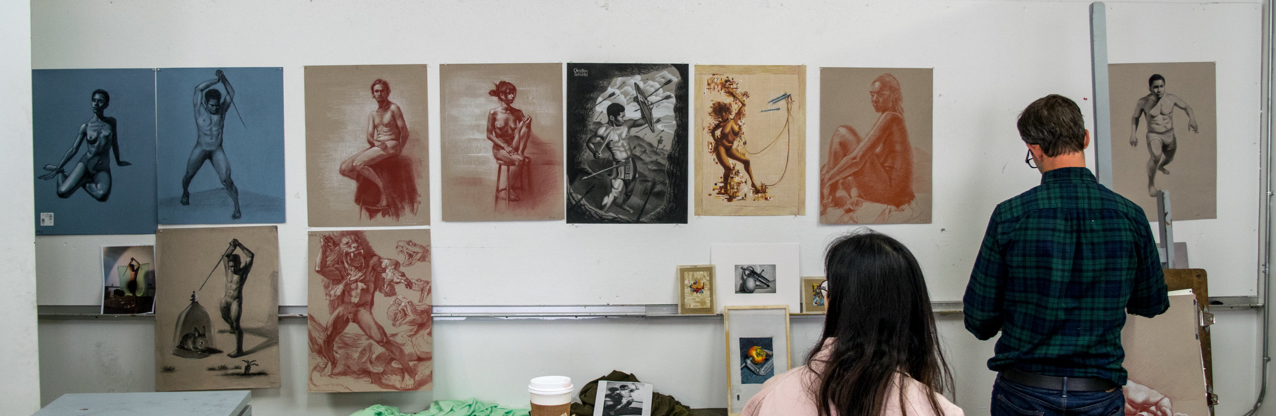 Class final figure drawing lineup and critique.