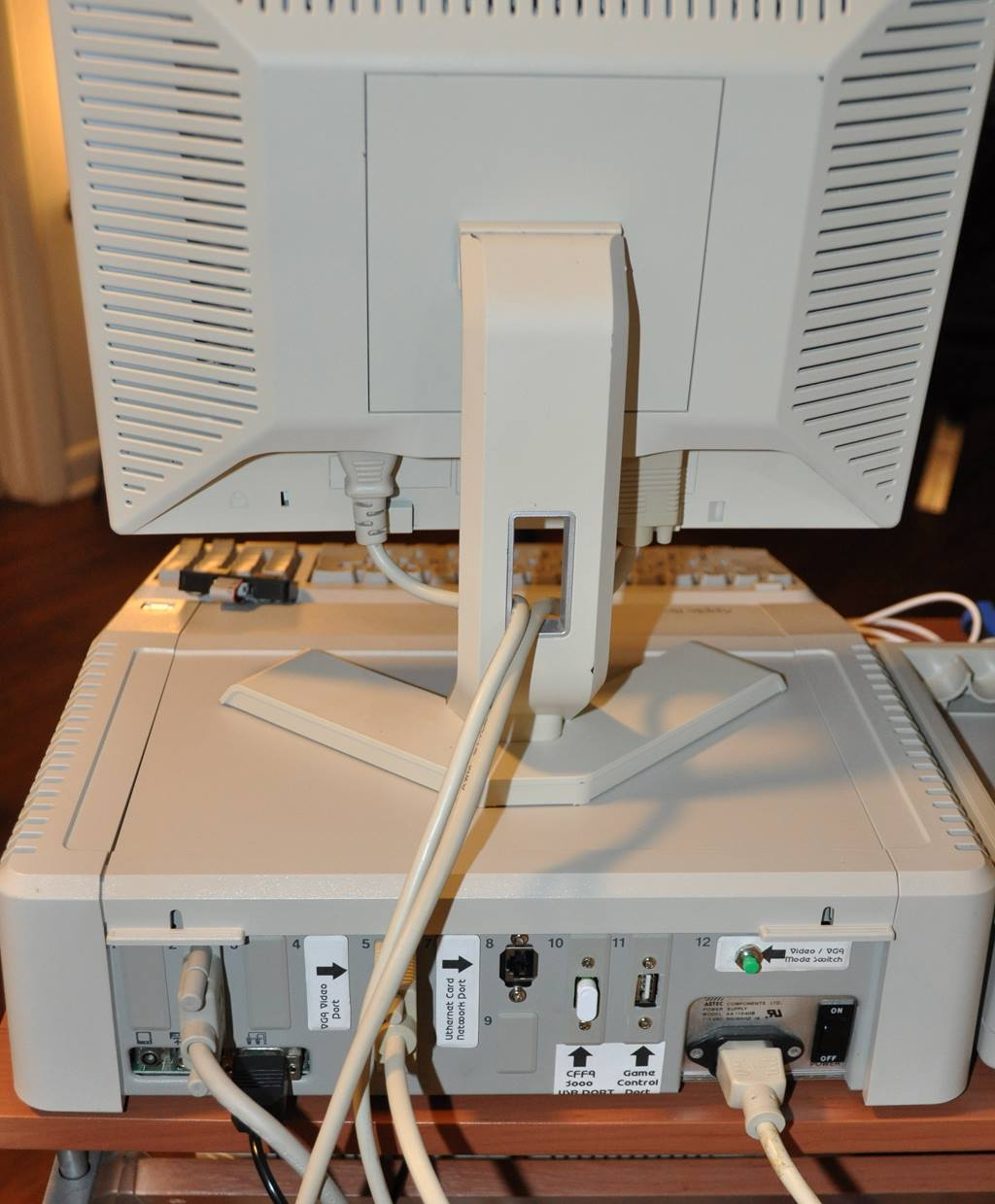 Apple //e rear ports labled