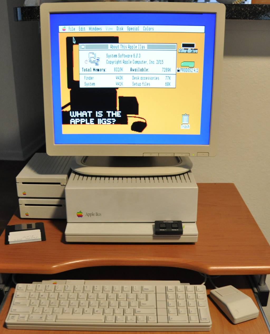 """Apple IIGS with an HP 17"""" DVI monitor that was painted to match the classic Apple IIGS color"""
