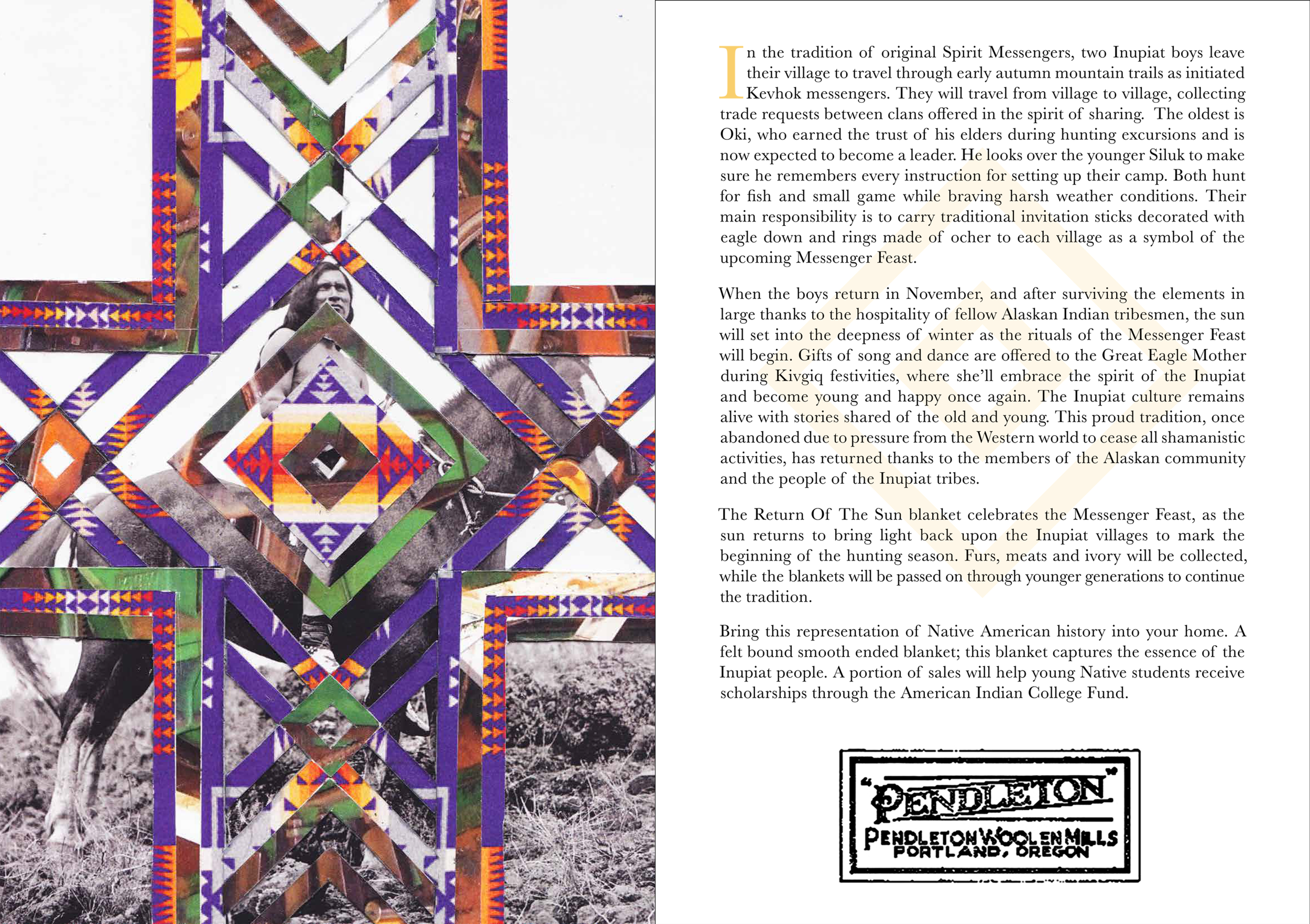 These postcards are placed in every package along with the product. Each postcard/design corresponds to a blanket, and details its history and background.