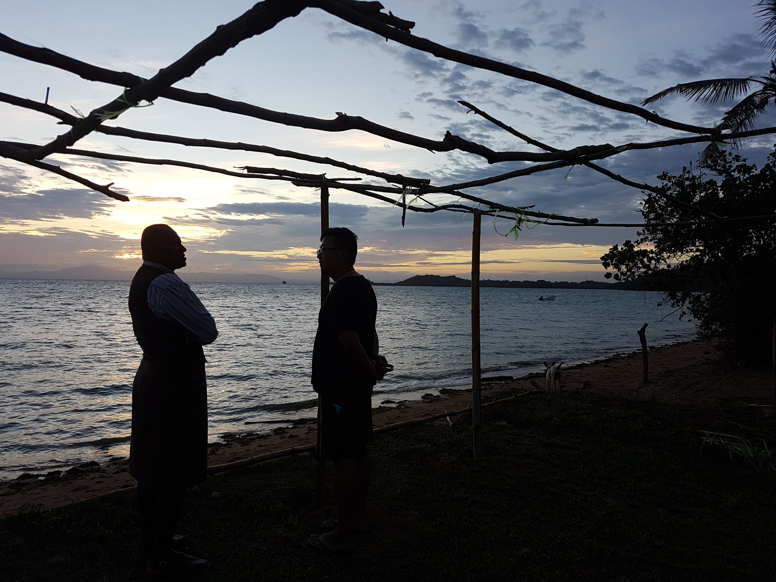 Delegate Jason Chen, from the University of Queensland, meets a local village elder at sunrise on the first morning of the 2017 Southern Hemisphere Medical Camp