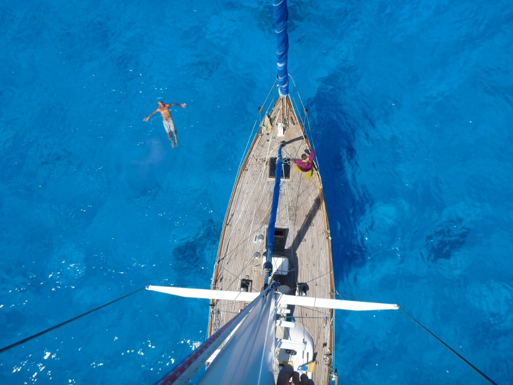 from the top of the mast at beveridge reef aboard compass rosey - last sailboat we crewed on to tonga.jpg.JPG