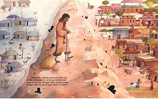 Manjhi Moves a Mountain, illustrated by Danny Popovici