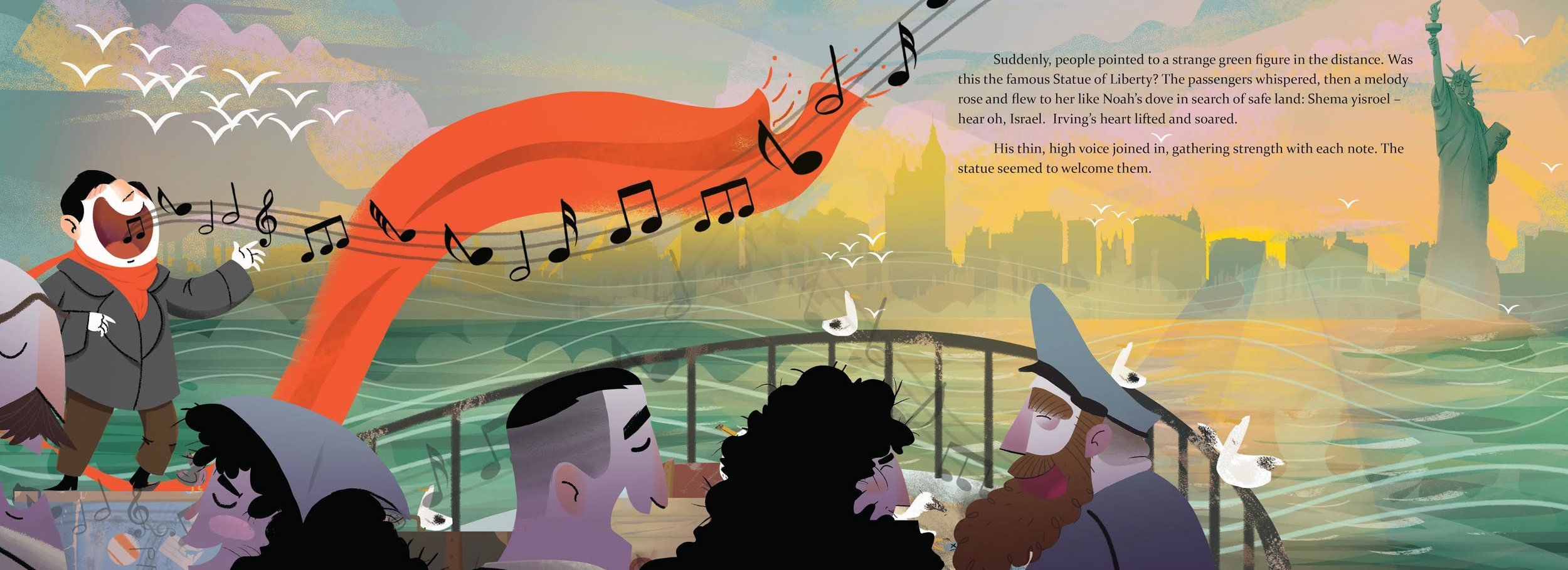 """Irving Berlin, the Immigrant Boy Who Made America Sing"" by Nancy Churnin, illustrated by James Rey Sanchez"
