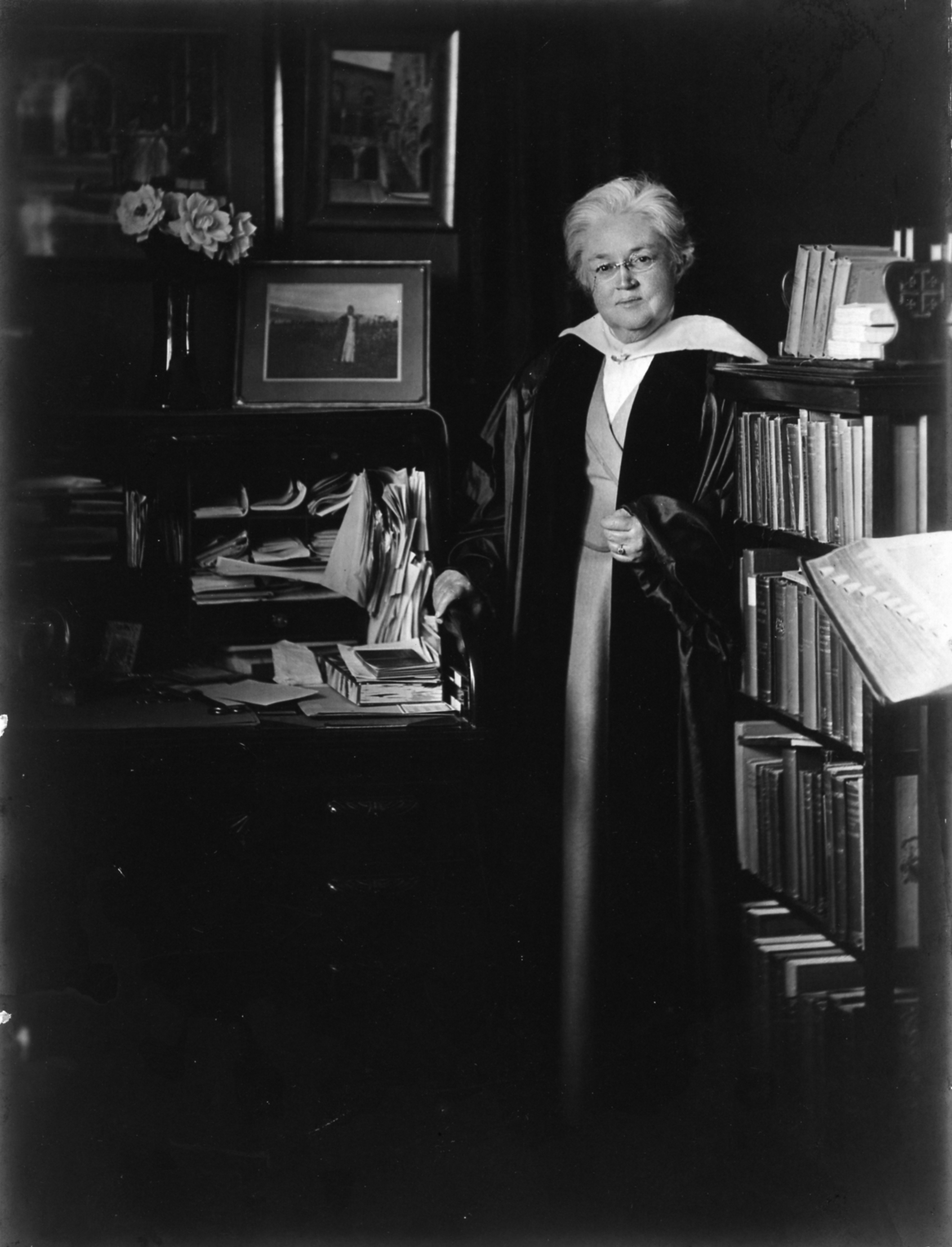 Katharine Lee Bates in 1925 in her study, photo courtesy of Melinda M. Ponder and the Wellesley College Archives