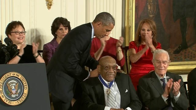 Charlie Sifford is awarded the Presidential Medal of Freedom by President Barack Obama at The White House in 2014. Photo courtesy of Charles Sifford Jr.