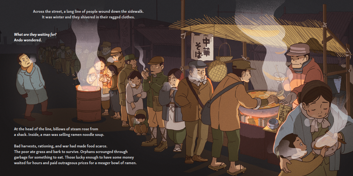 Magic Ramen, the Story of Momofuku Ando  by Andrea Wang, illustration by Kana Urbanowicz