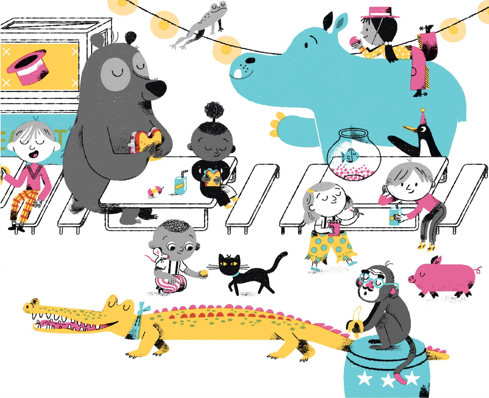 The cafeteria zoo in Your First Day of Circus School by Tara Lazar. Illustrations by Melissa Crowton (Tundra Books)