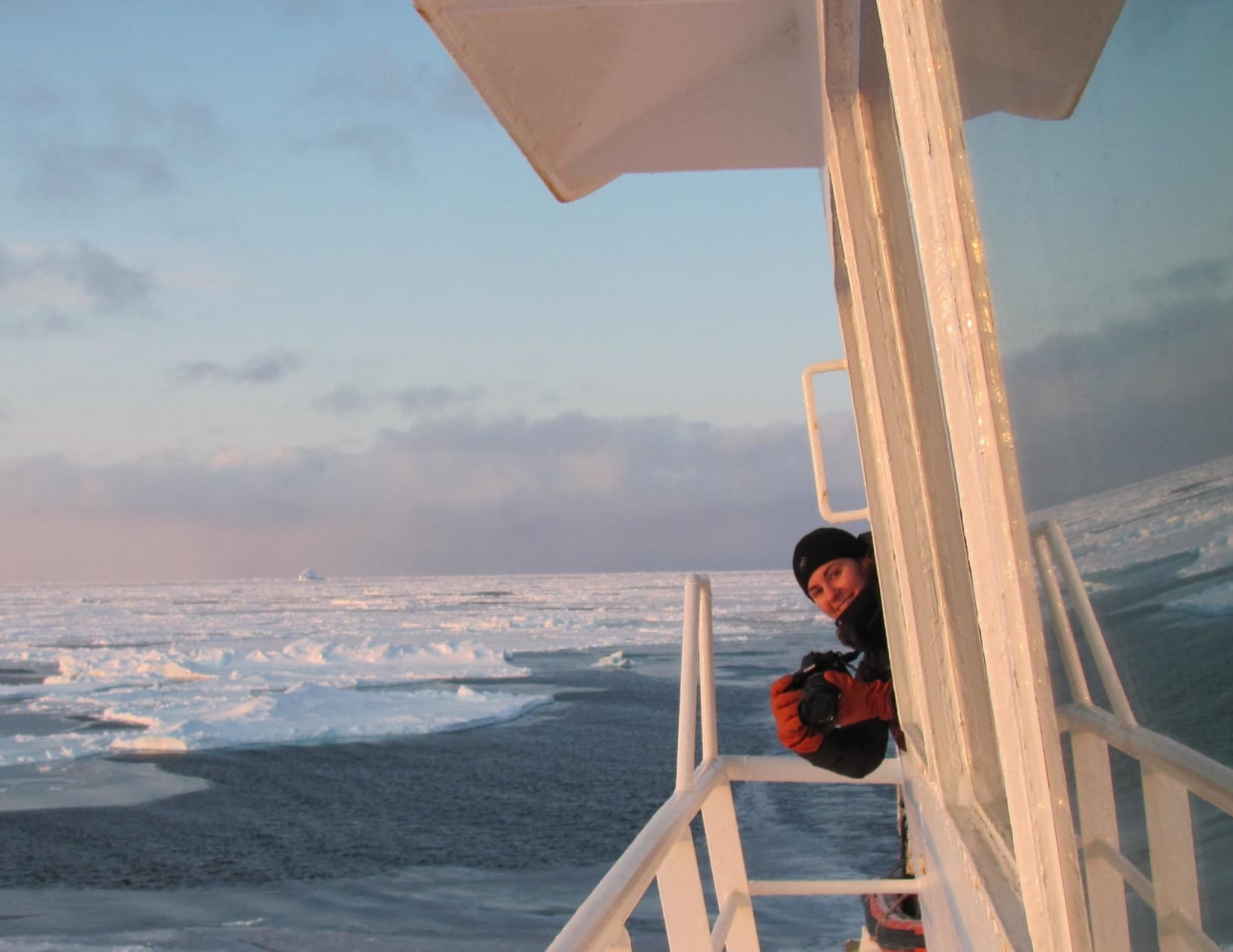 Peaking through the CCGS Amundsen icebreaker window while going through the Northwest Passage for research in 2009.