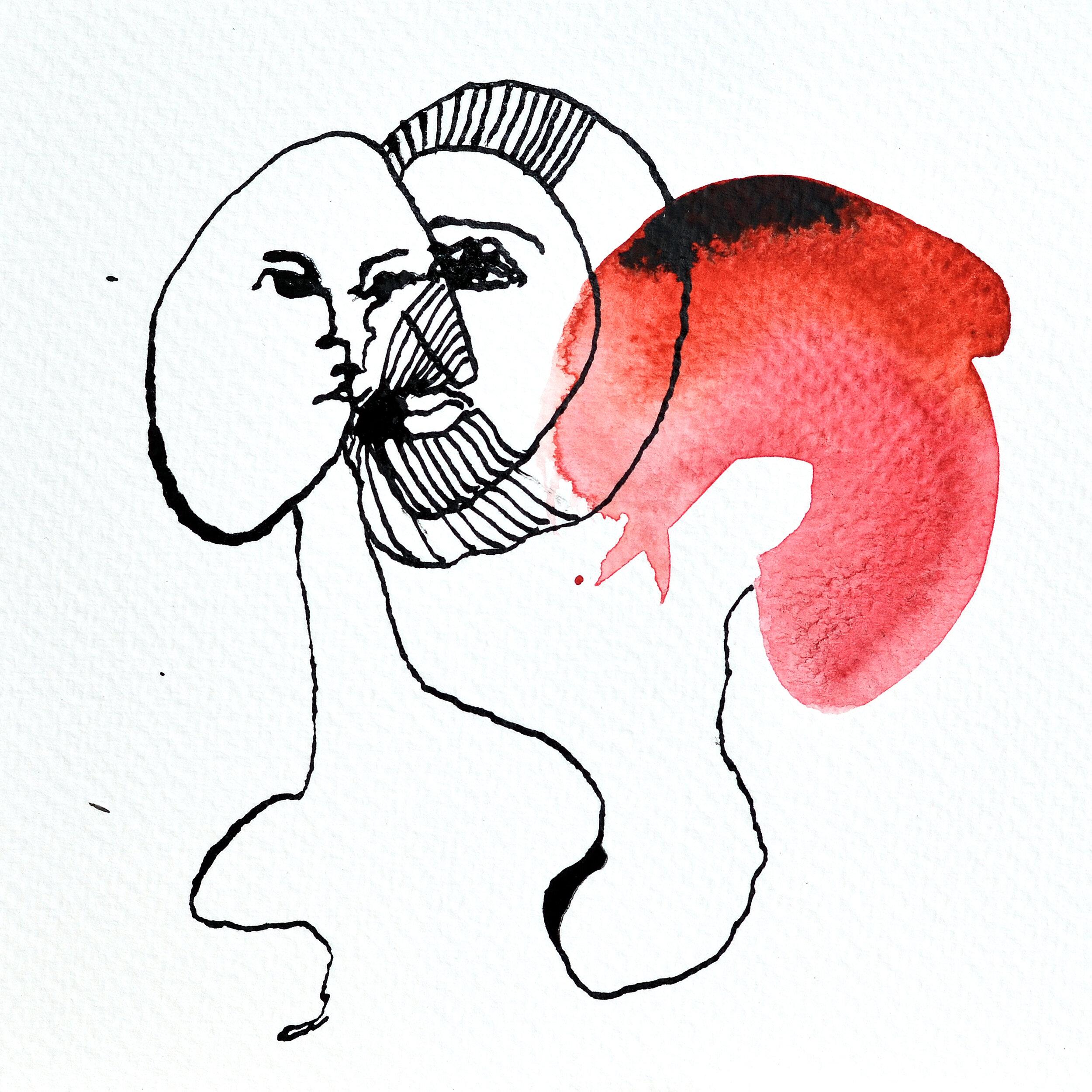 Liv Solberg Andersen -  Du i meg  - blekk og akvarell på akvarellpapir 15 x 15 cm