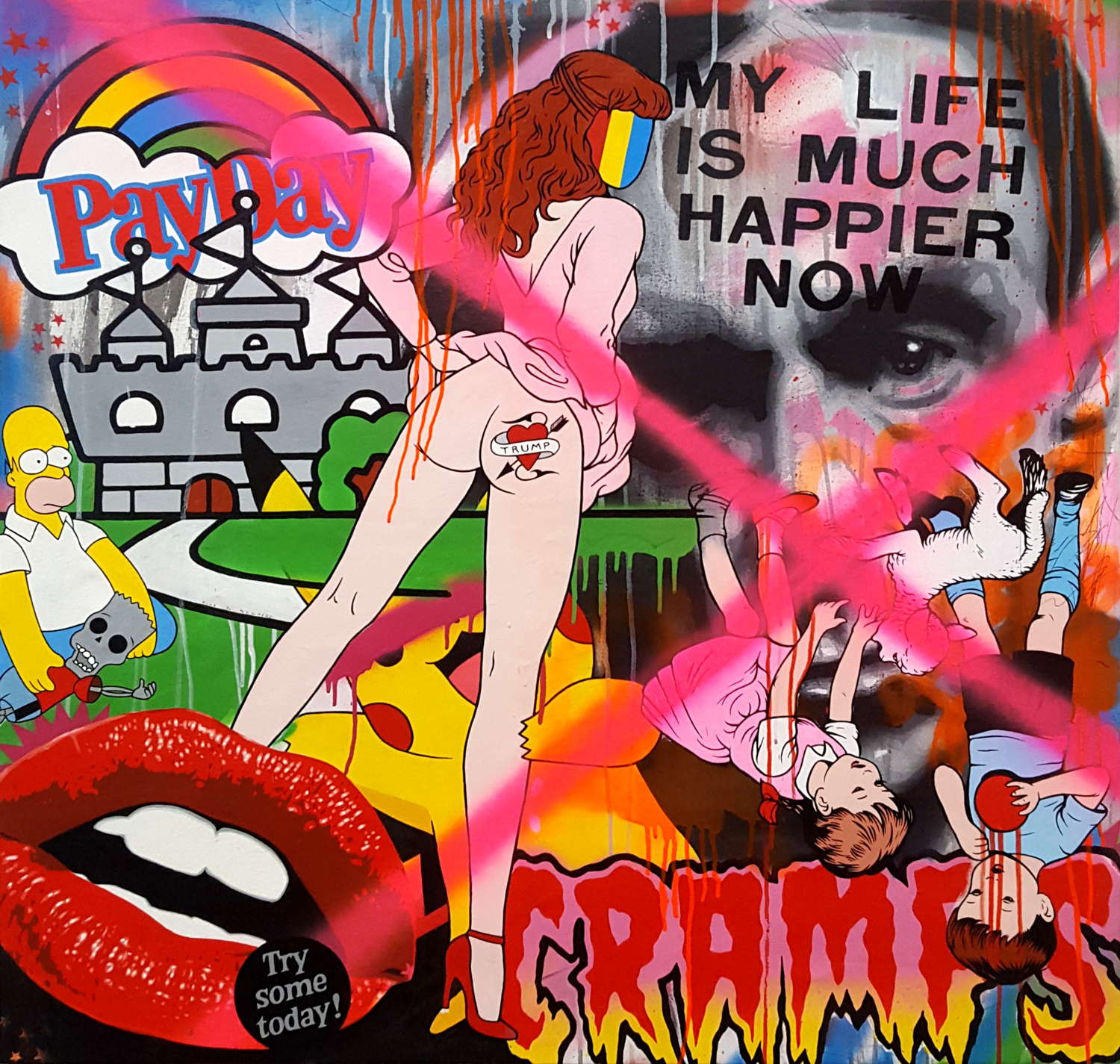 My Life is Much Happier Now - Mixed Media on canvas. 100cm x 100cm. 2017