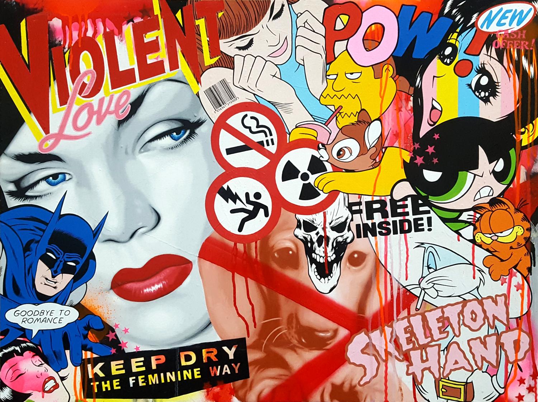 Violent Love - Mixed media on board. 90cm x 60cm. 2017