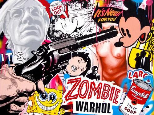 Zombie Warhol - acrylic and spray paint on board. 2009 . 90cm x 60cm