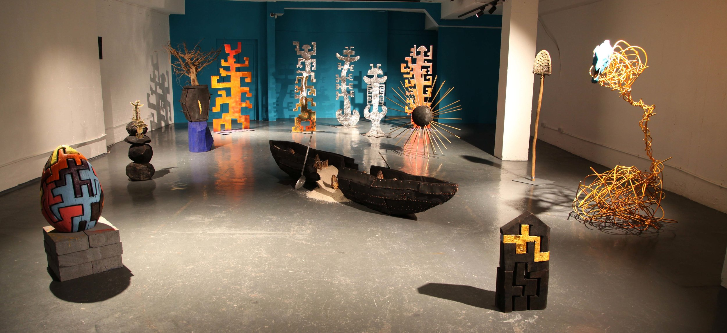 Sol's sculptures in 'From Myth To Earth'