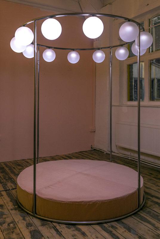 Penelopes Wheel, 2016, steel, mattress, velvet, sandblasted glass, LEDs, electrics and motor, 200x155x155cm