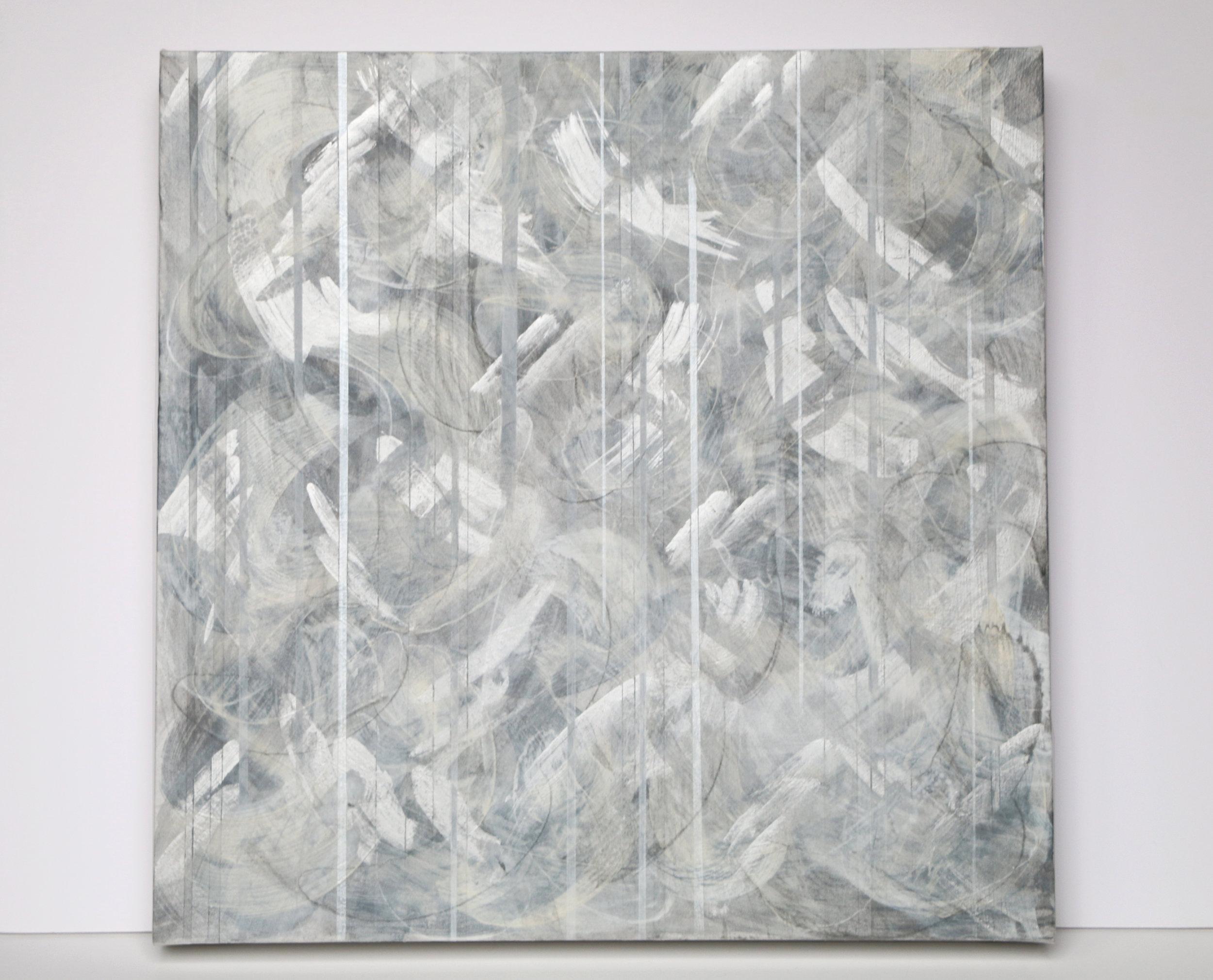Refocus,  acrylic and aluminium paint on canvas, 40 x 40 cm