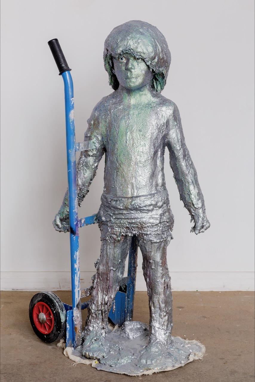 Boy No 1. 2017 Plaster, Clay, Spray paint, Steel, 150cm x 45cm x 50cm