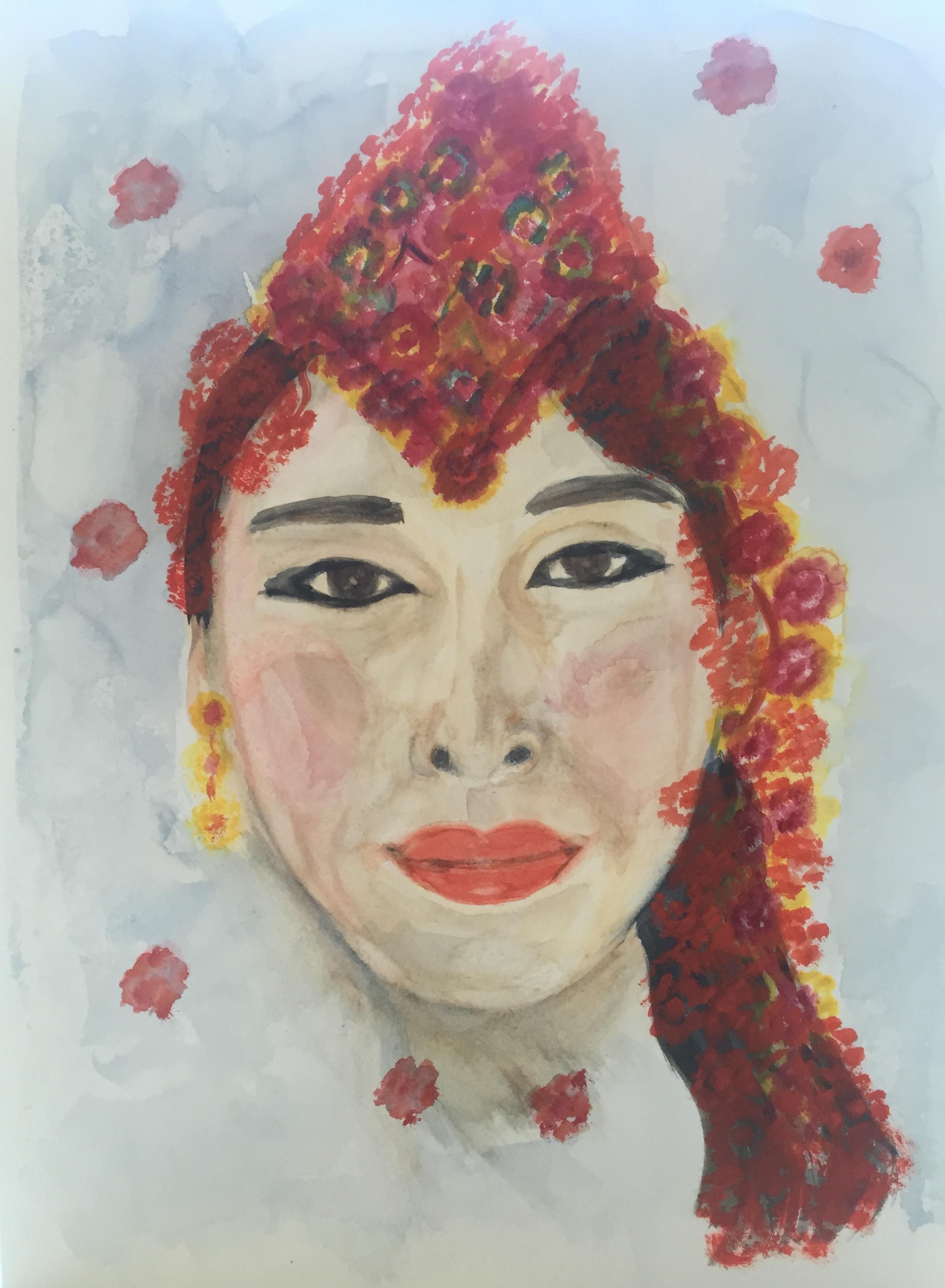 Flower Lady #5 (2016) 16x12