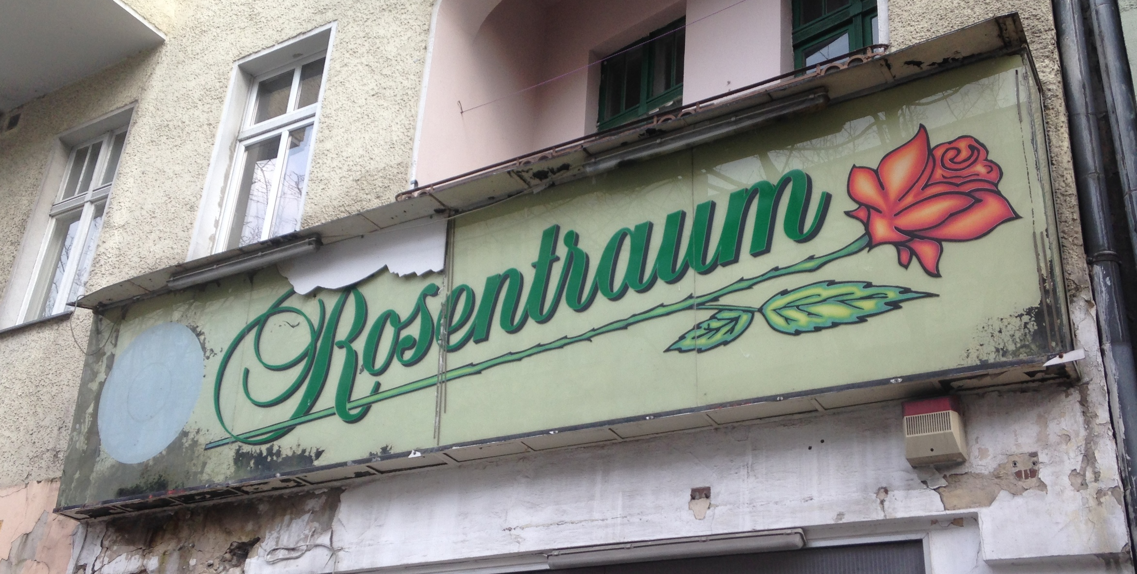 Rosentraum, Beusselstraße, closing date unknown. Until renovations began in April 2016, the abandoned cafe below gave off an overpowering wild-animal scent from the cracks in its windows, potentially from urban foxes—a fairly common sight on upper Beusselstraße.
