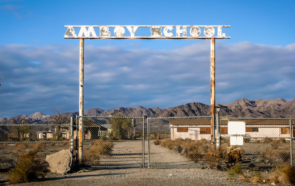 The Amboy School. There is still a school in Amboy, but these buildings have not been used in many years.