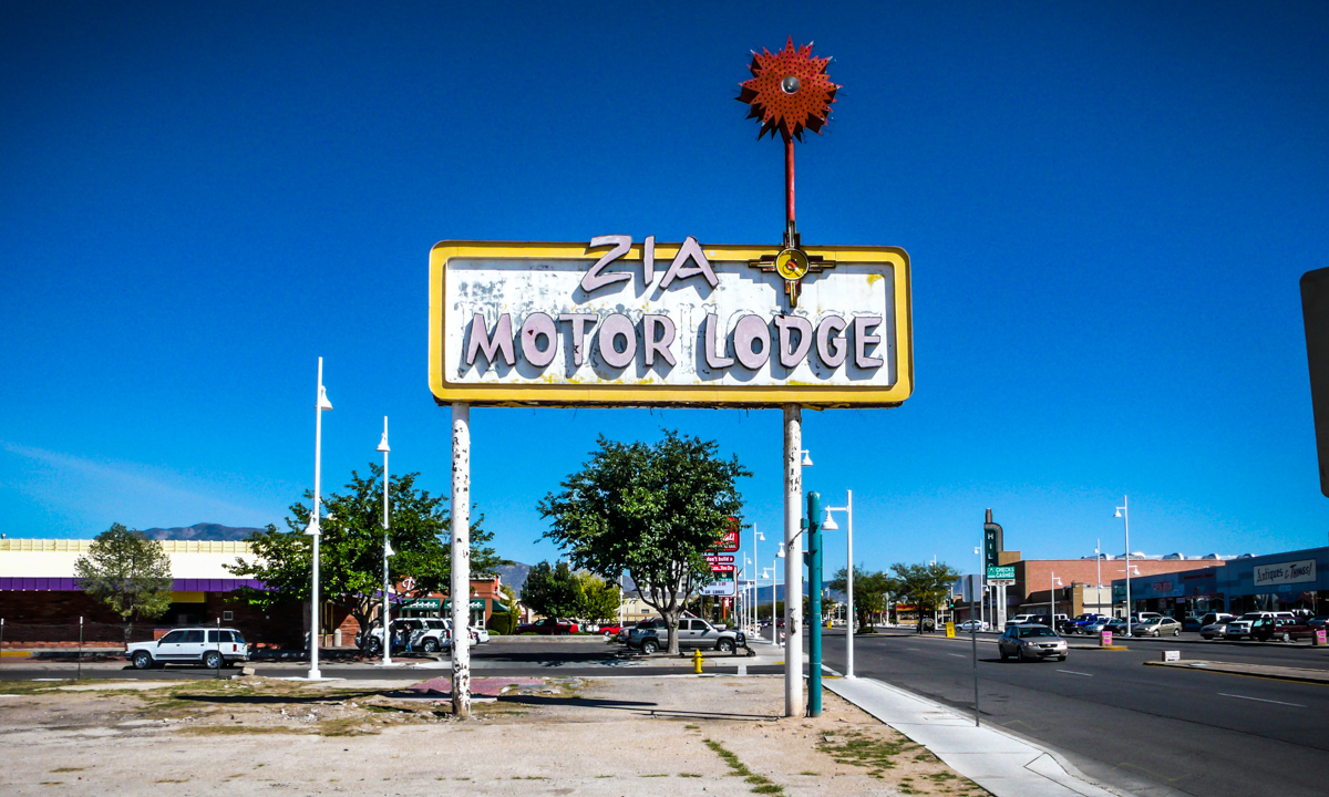 The Zia Motor Lodge in Albuquerque was demolished several years ago, but the sign survived. Look closely behind the letters and you will see that a different sign in the same frame once belonged to a Del Webb's Hiway House Motel.