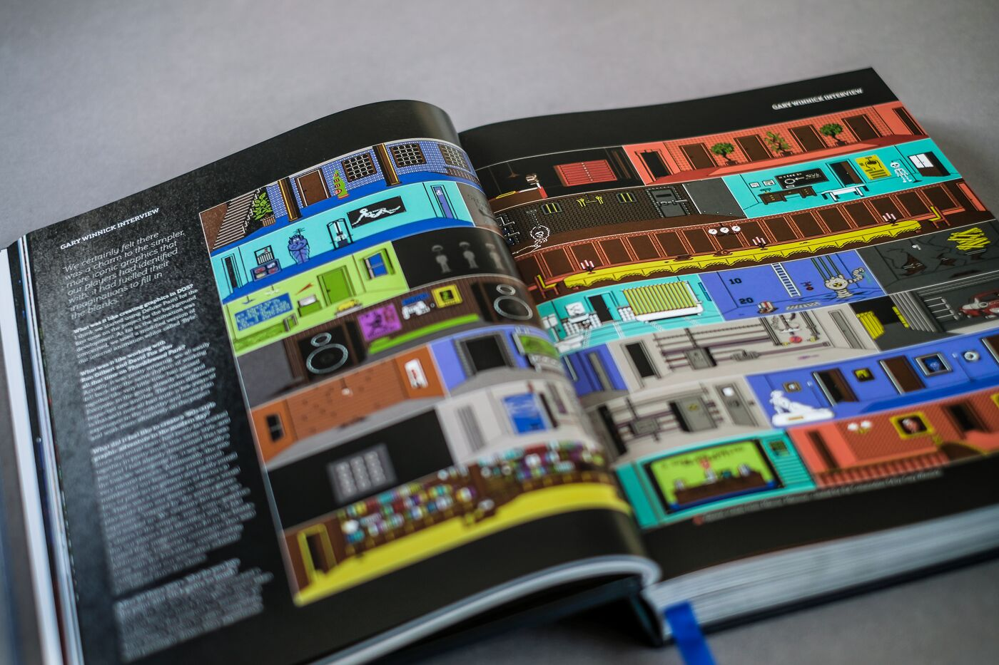 A spread illustrating the various rooms of  Maniac Mansion