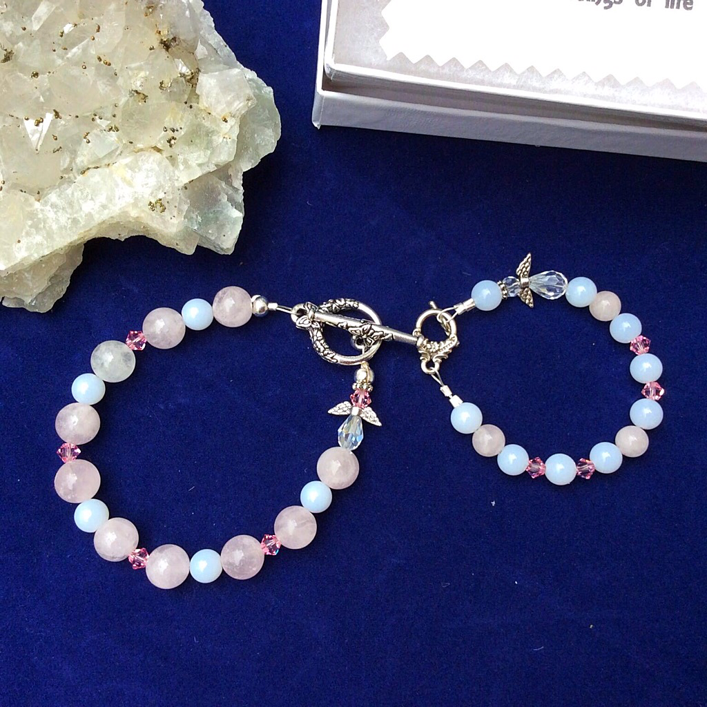 Rainbow Moonstone, Mother-of-Pearl, and Rose Quartz Mother/Daughter Bracelet for Mother's Day and can also be used for Bride/Flower Girl for a Wedding.