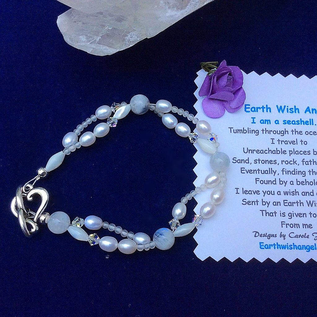 Moonstone and Mother-of-Pearl Double Strand Bracelet with Silver Heart Clasp