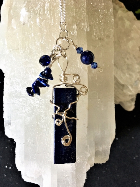 September Birthstone Necklace with a Wrapped Lapis Gemstone (SOLD)