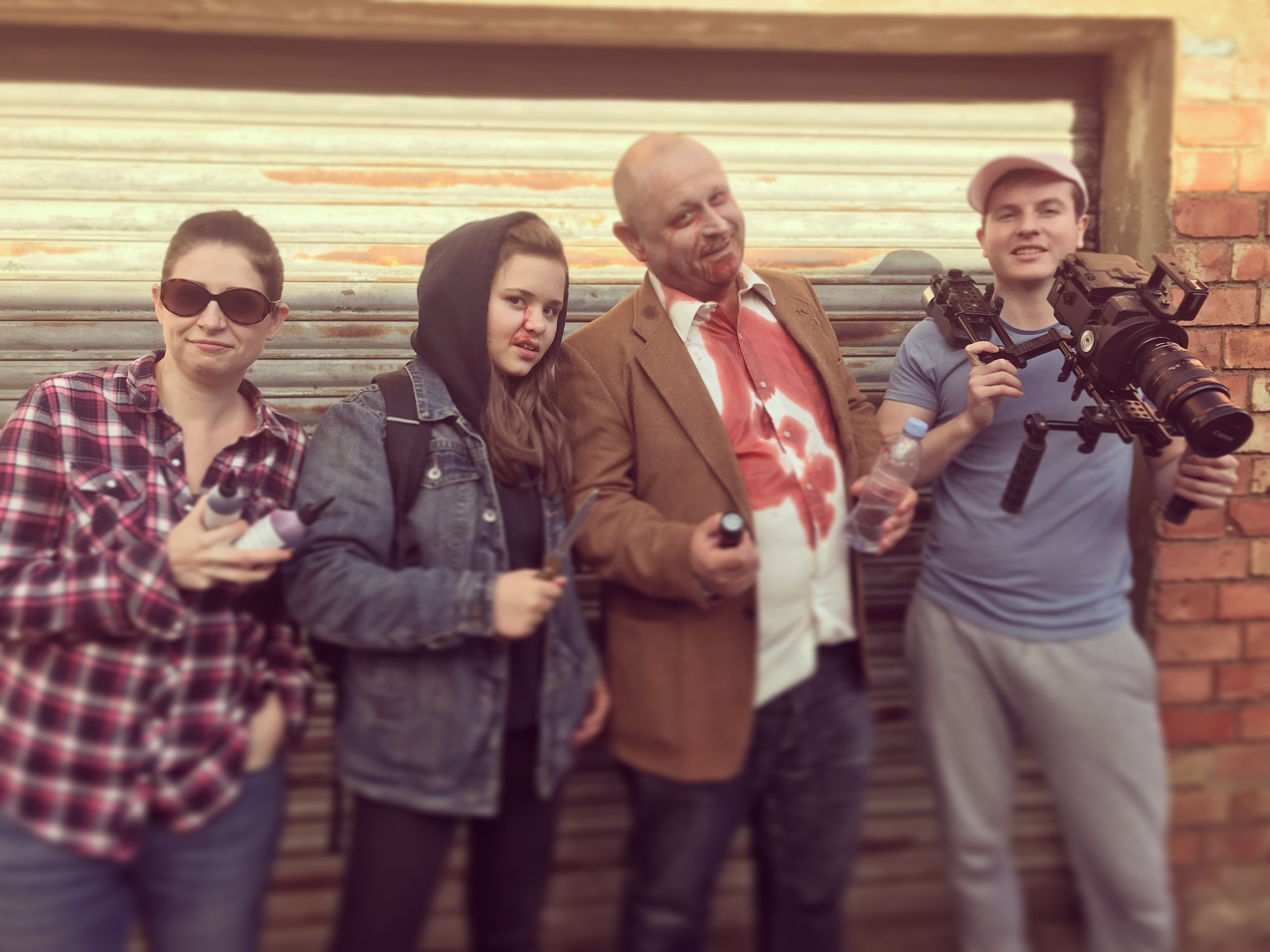 Unusual Suspects- Penny Layton (MUA), Tiana Rogers (Runaway), Paul Rogers (Dead guy), and Alex Powell (DoP).
