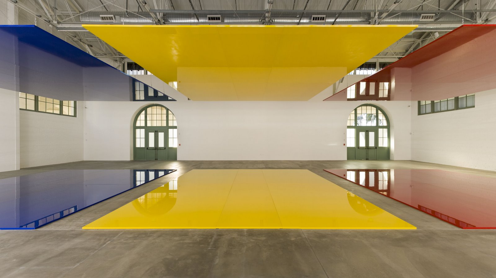 Who's Afraid of Red, Yellow & Blue  (installation view, detail below), 2006-07 polyurethane paint over lacquer on aircraft honeycomb aluminum 24 panels: 132 1/2 x 96 1/2 inches (3.4 x 2.4 m) each; 12 panels:132 1/2 x 48 1/4 inches (3.4 x 1.2 m) each; overall installation dimensions variable. Photography by Philipp Scholz Rittermann ©Robert Irwin/Artists Rights Society, New York