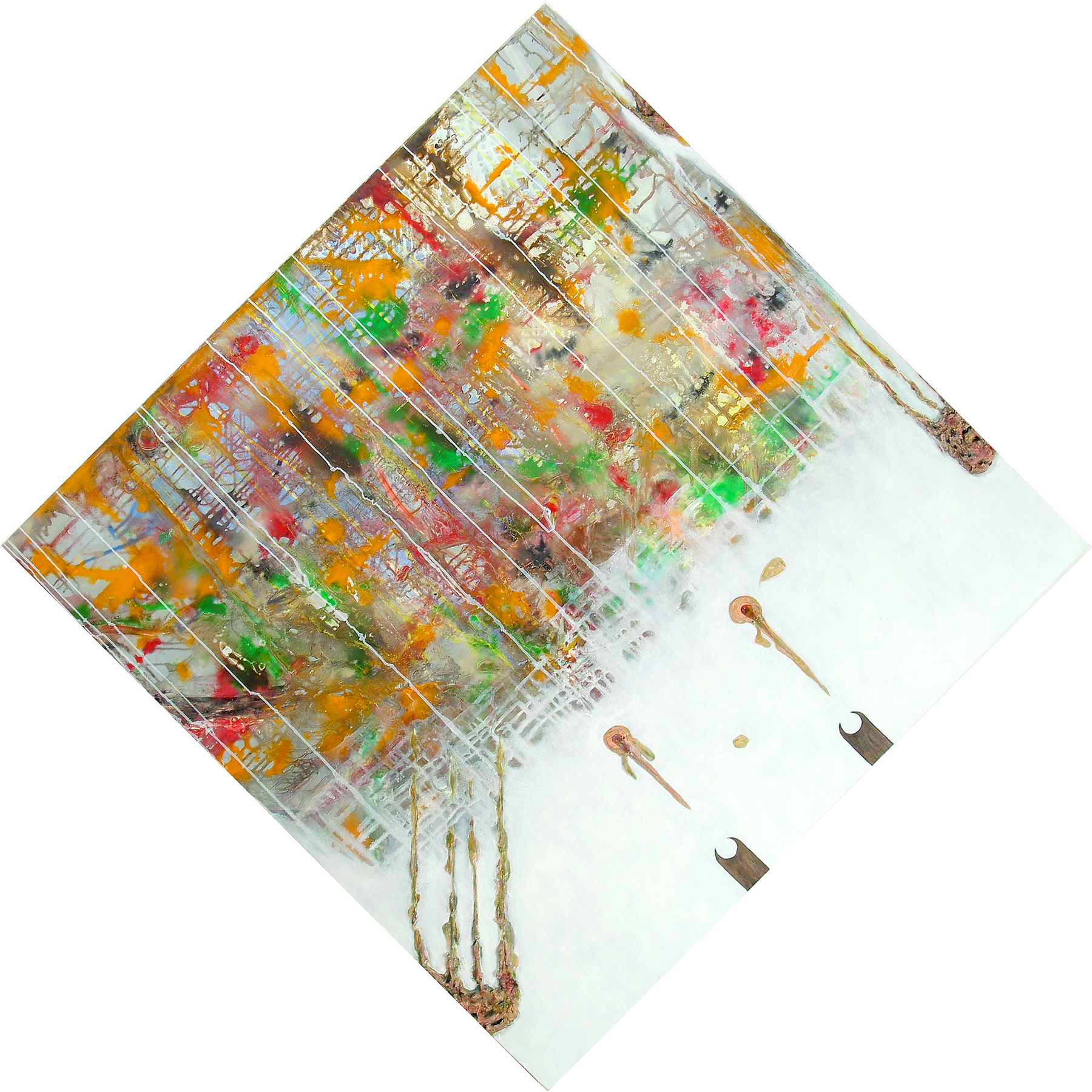 4 April , oil, acrylic and metallic paint on canvas, 68 in x 68 in overall, 2009.