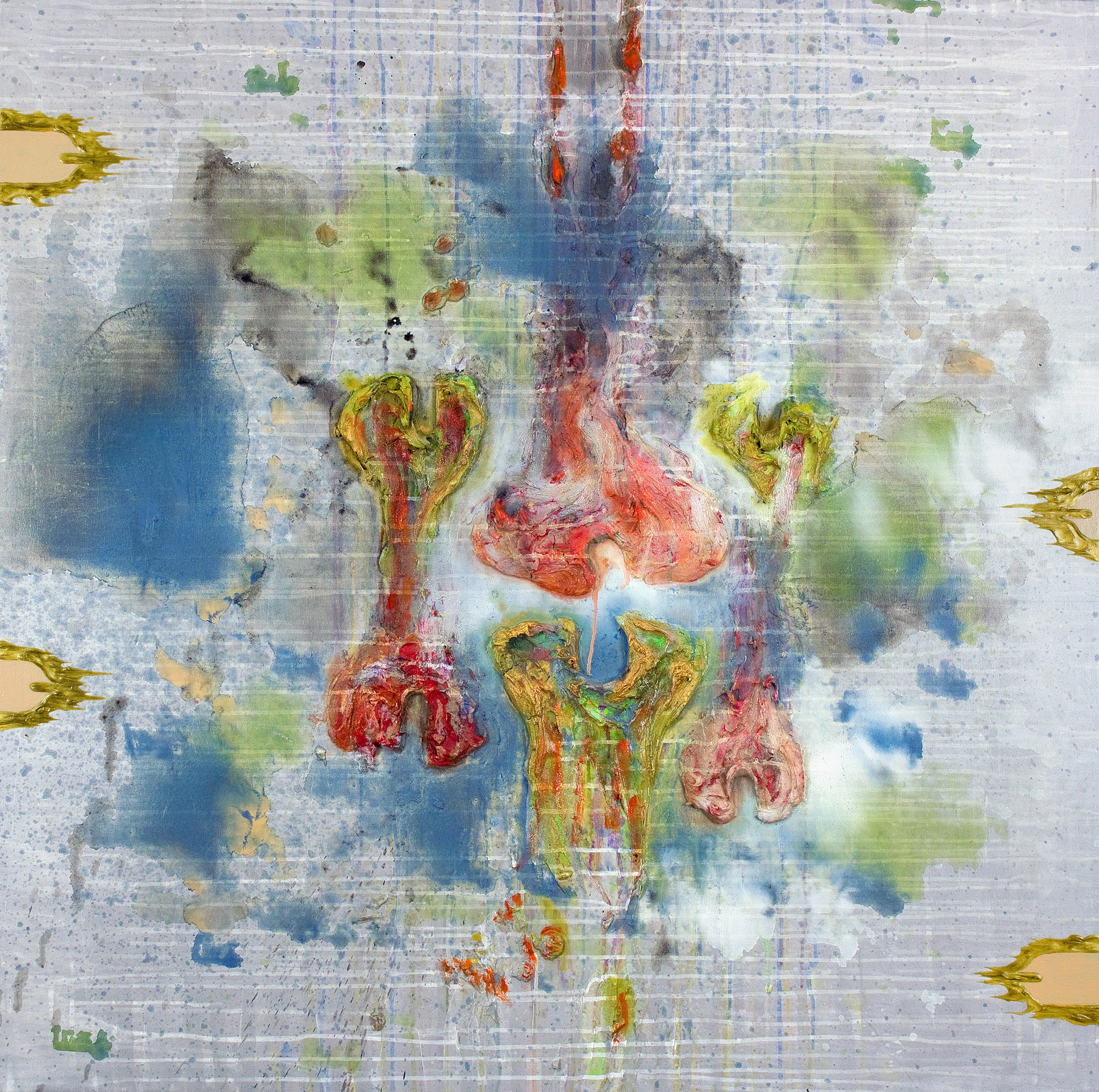 24 March , oil, acrylic, metallic paint and sand on canvas, 48 in x 48 in, 2010.