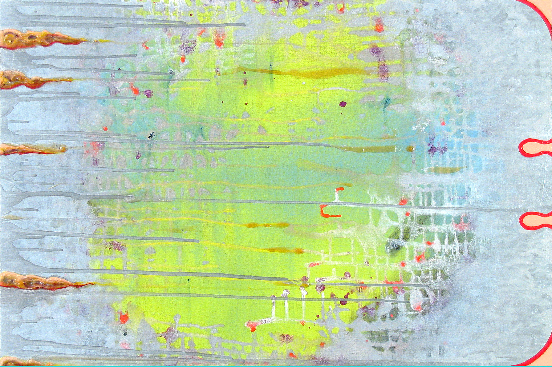 28 May , oil, acrylic and metallic paint on canvas, 20 in x 30 in, 2010.