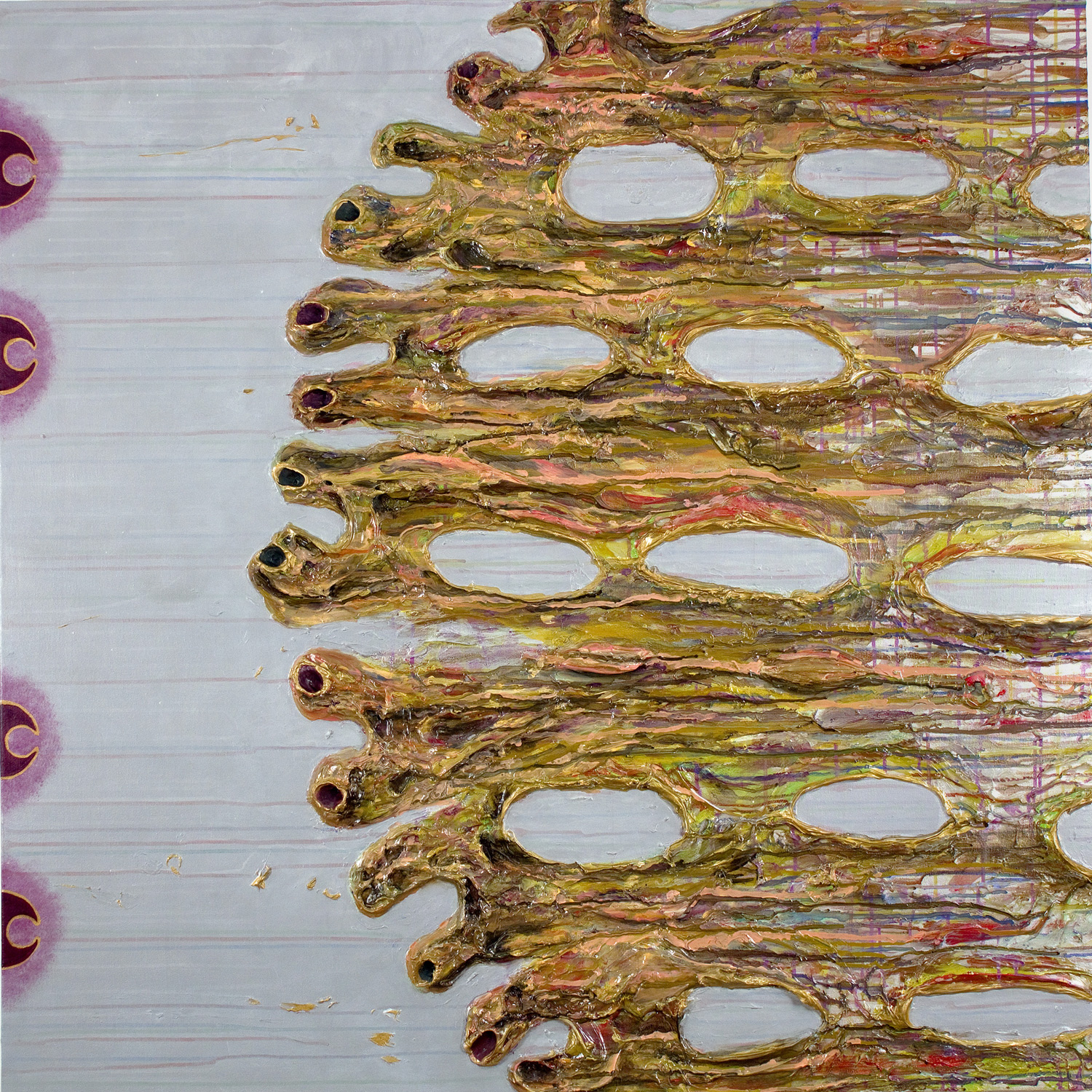 15 March , oil, acrylic and metallic paint on canvas, 48 in x 48 in, 2010.