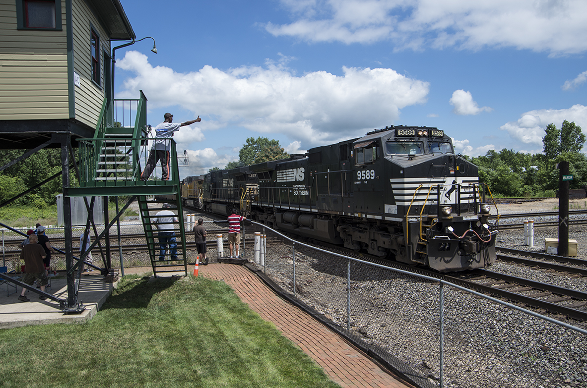 AC Tower, a former Erie structure in Marion, has been fully restored by the Marion Union Station Association and makes a great vantage point for railfanning!