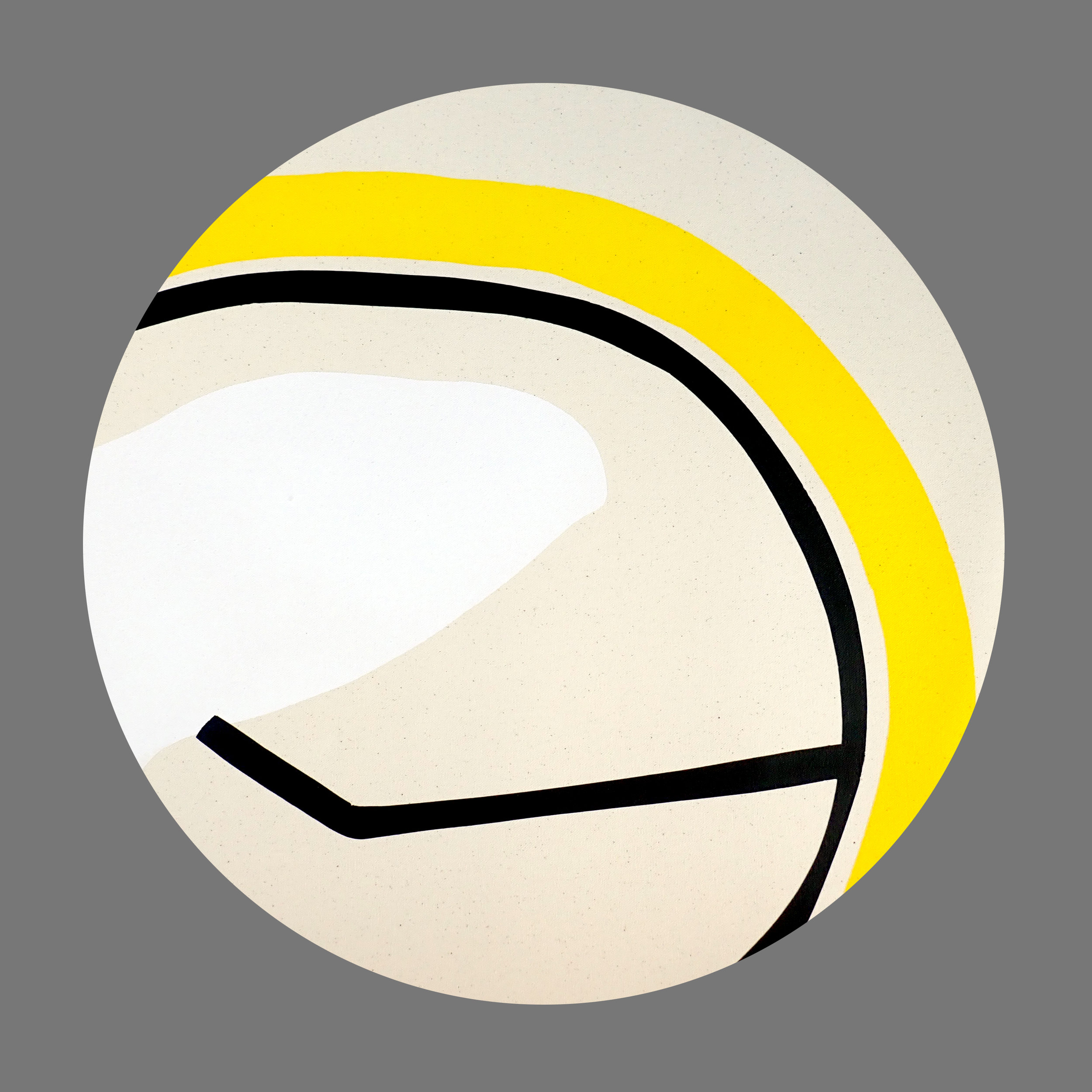 Circle with yellow line and black drawing