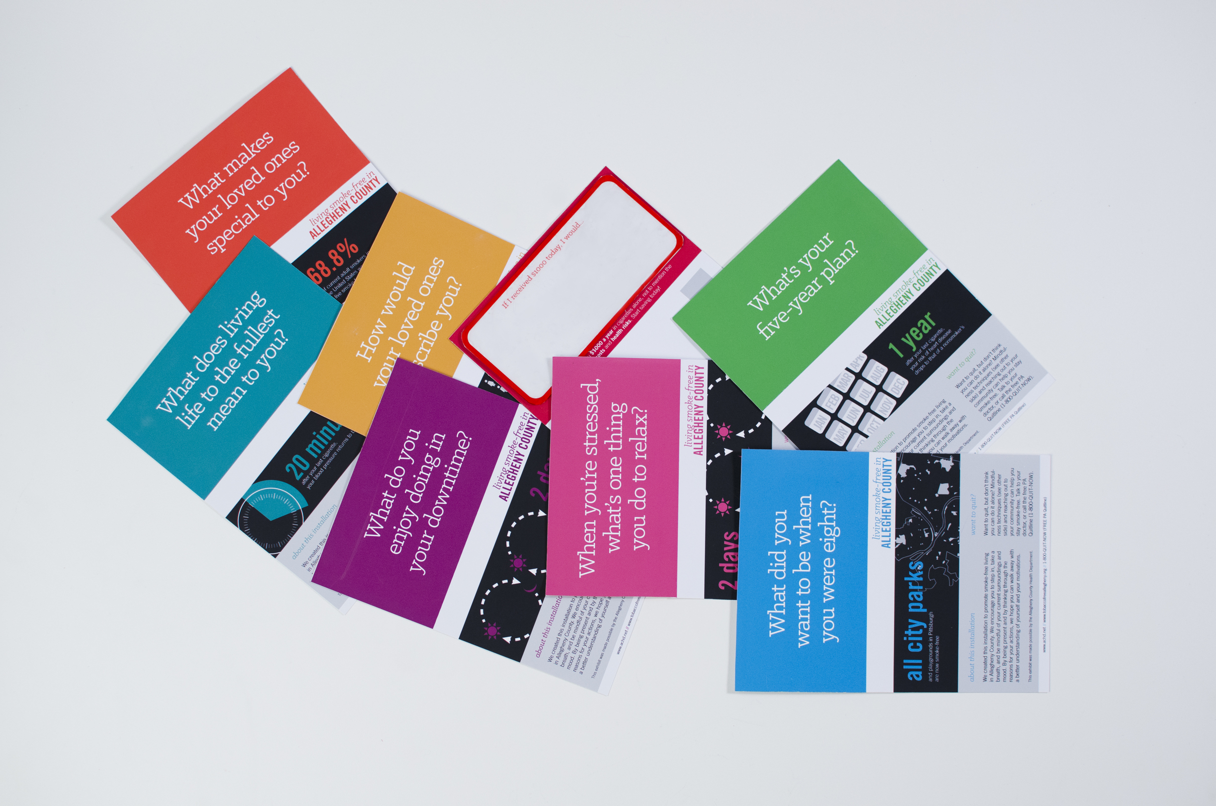 Bright colors and bold type differentiate this communication system from others currently on the market that utilize depressing imagery and dated styles.