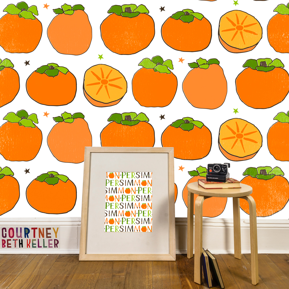 Persimmon Repeat Pattern & Lettered Hero