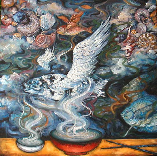 FLYING FISHES, OIL ON CANVAS, 36x36'', 2004.