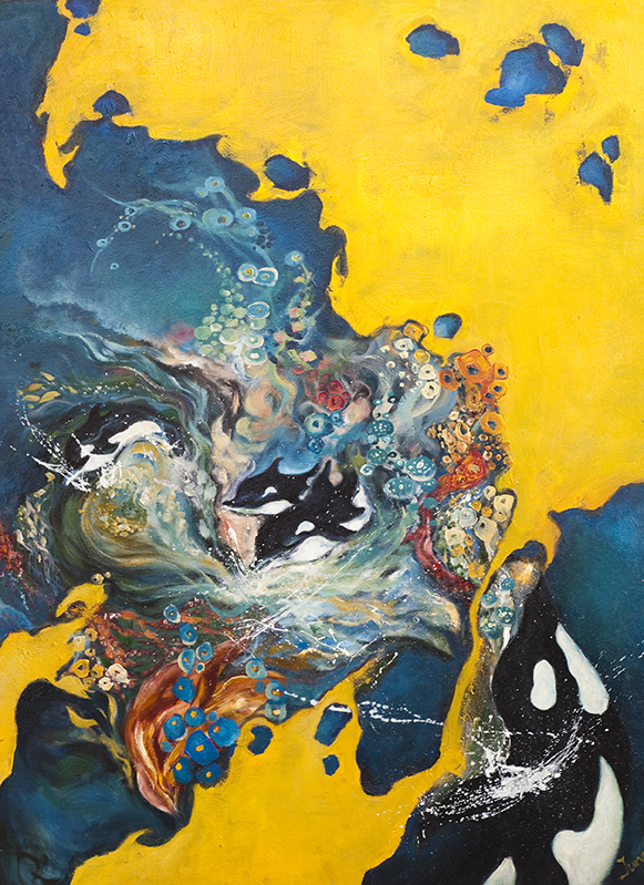 "SPIRIT OF THE OCEAN, OIL ON CANVAS, 36x48"", 1999."