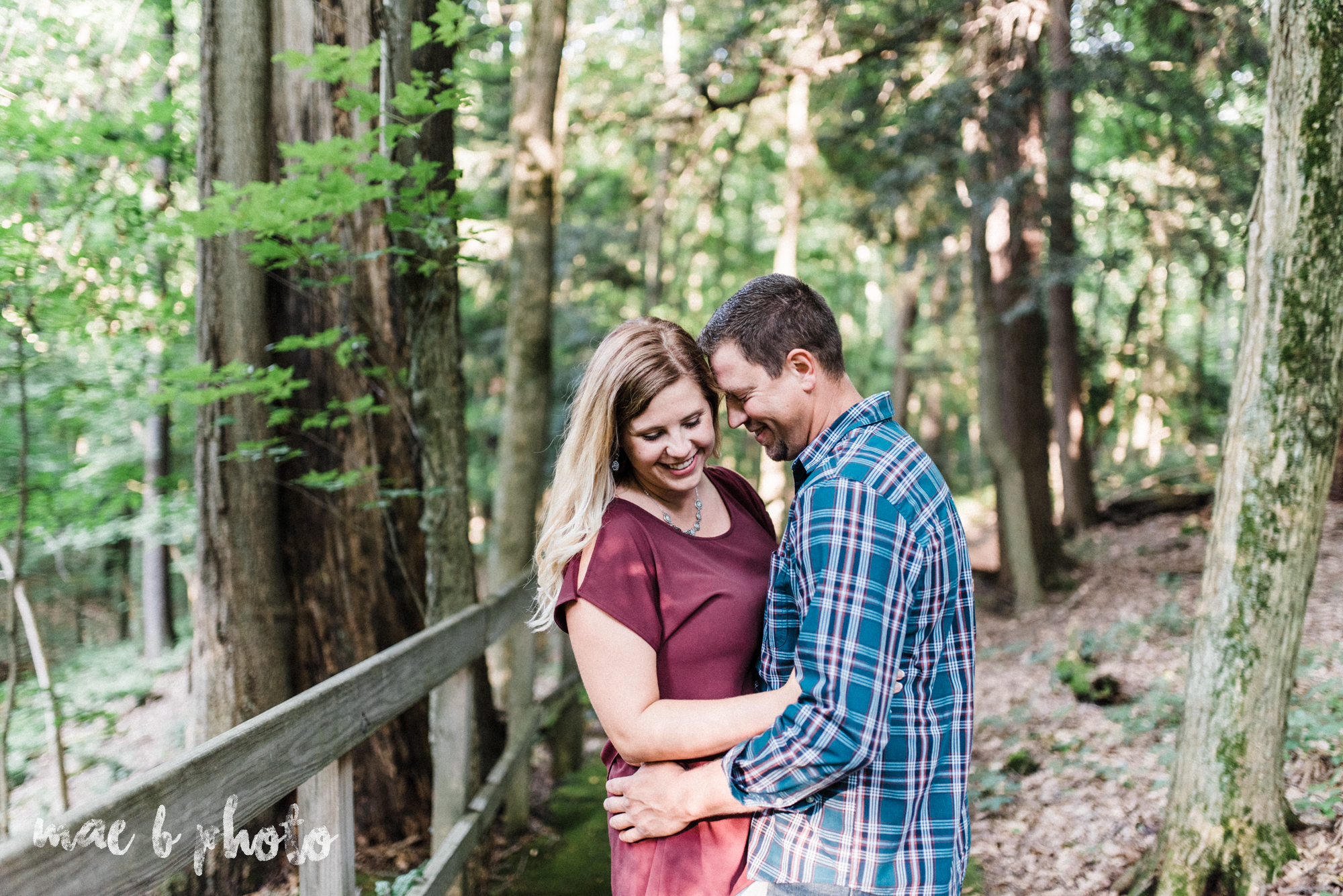 becca and rich's woodsy summer engagement session at ford nature center in mill creek park in youngstown ohio photographed by cleveland wedding photographer mae b photo-5.jpg