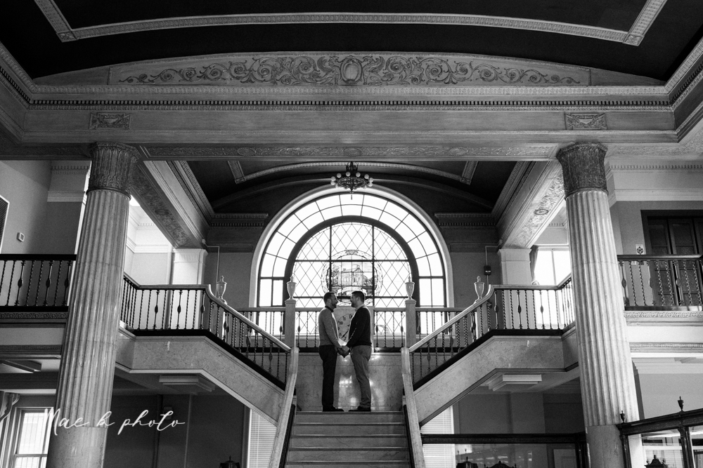 marcus and anthony's same sex winter lifestyle in home engagement session at the chase building in downtown warren ohio and at their home in niles ohio photographed by youngstown wedding photographer mae b photo-2.jpg