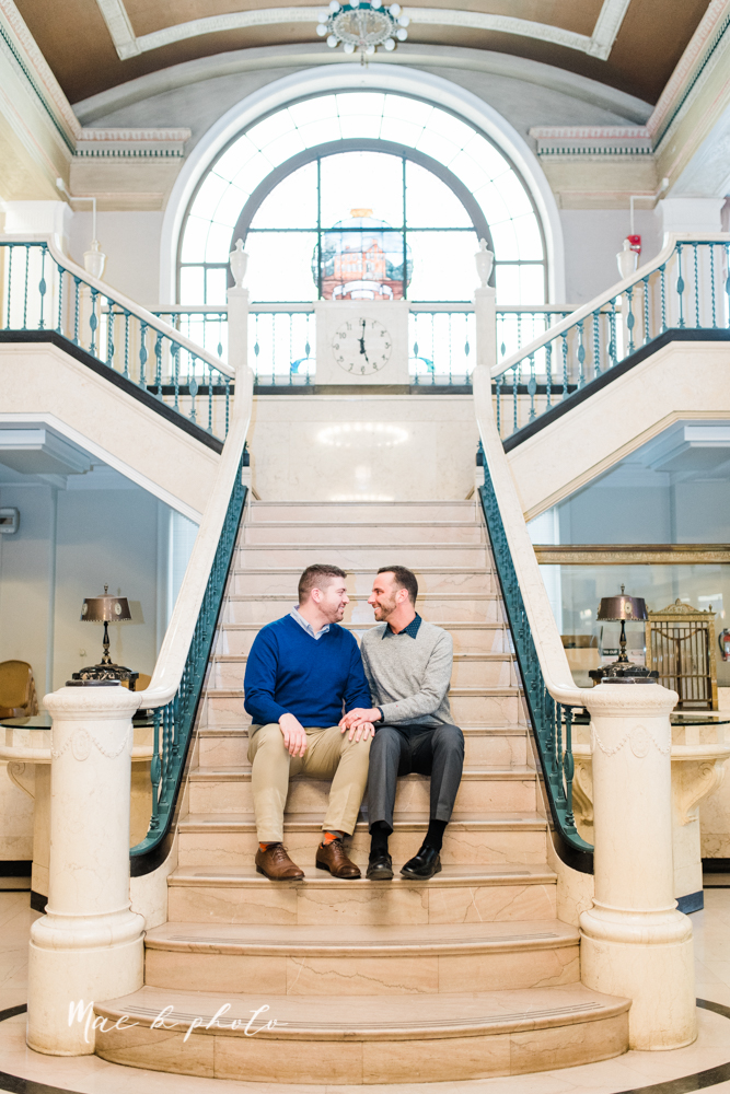 marcus and anthony's same sex winter lifestyle in home engagement session at the chase building in downtown warren ohio and at their home in niles ohio photographed by youngstown wedding photographer mae b photo-17.jpg