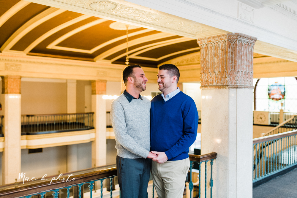marcus and anthony's same sex winter lifestyle in home engagement session at the chase building in downtown warren ohio and at their home in niles ohio photographed by youngstown wedding photographer mae b photo-7.jpg