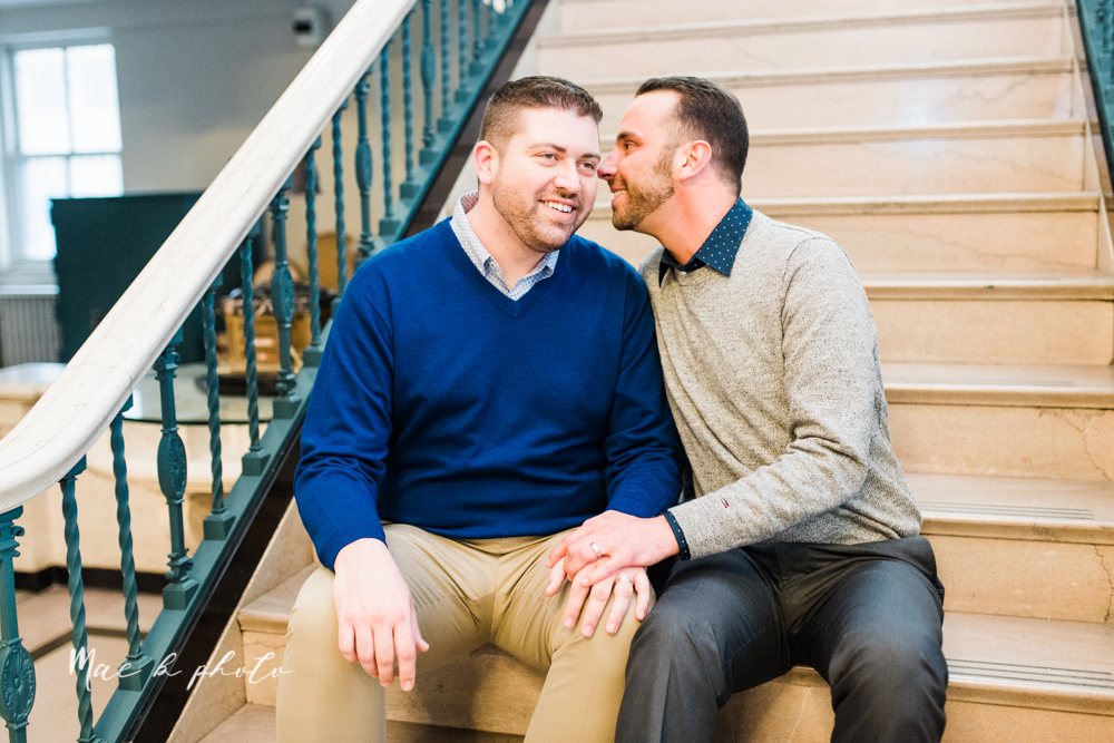 marcus and anthony's same sex winter lifestyle in home engagement session at the chase building in downtown warren ohio and at their home in niles ohio photographed by youngstown wedding photographer mae b photo-18.jpg