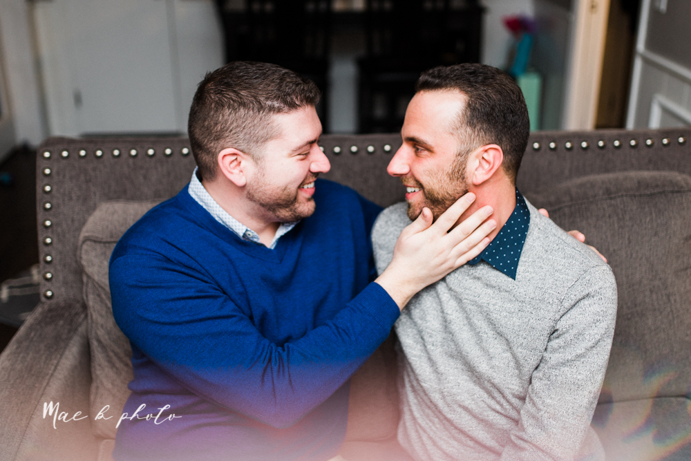 marcus and anthony's same sex winter lifestyle in home engagement session at the chase building in downtown warren ohio and at their home in niles ohio photographed by youngstown wedding photographer mae b photo-33.jpg