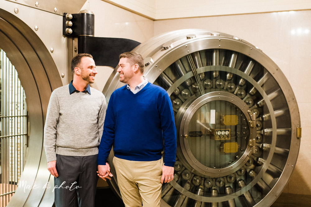 marcus and anthony's same sex winter lifestyle in home engagement session at the chase building in downtown warren ohio and at their home in niles ohio photographed by youngstown wedding photographer mae b photo-15.jpg